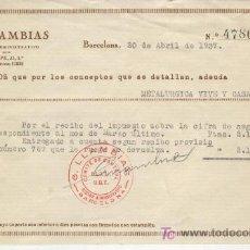 Documentos antiguos: GUERRA CIVIL METALURGICA VIVE Y CASALS COLECTIVIZADA COMITE DE CONTROL UGT U.G.T. AÑO 1937 SELLO. Lote 7338194