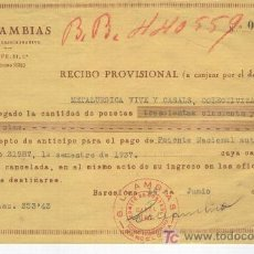 Documentos antiguos: GUERRA CIVIL ESPAÑOLA. METALURGICA VIVE Y CASALS COLECTIVIZADA. COMITE DE CONTROL. UGT. U.G.T.1937. . Lote 7338261