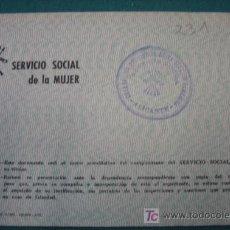 Documentos antiguos: CARNET SERVICIO SOCIAL, 1945. Lote 7874805