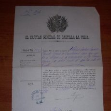Documentos antiguos: DOCUMENTO DEL CAPITAN GENERAL DE CASTILLA LA VIEJA. Lote 11469907