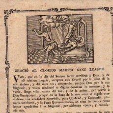 Documentos antiguos: GOZO, ORACIO AL GLORIOS MARTYR SANT ERASME, S.XVIII. Lote 8163558