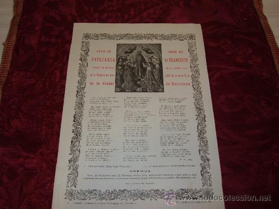 GOIGS EN LLAHOR DEL PATRIARCA ST FRANCESCH VENERAT ESGLESIA DEL HOSPITAL DE LA SANTA CREU 1921 (Coleccionismo - Documentos - Otros documentos)