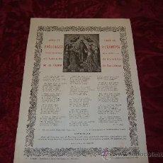 Documentos antiguos: GOIGS EN LLAHOR DEL PATRIARCA ST FRANCESCH VENERAT ESGLESIA DEL HOSPITAL DE LA SANTA CREU 1921. Lote 8284241