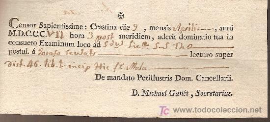 9 Aprilis MDCCCVII 1807 8x18 Cm Biblioteconomia Bibliotecas