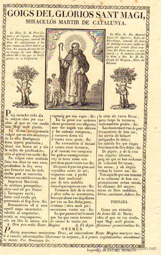 Documentos antiguos: GOIGS DEL GLORIOS SANT MAGI, MARTIR DE CATALUNYA, S.XIX, IMP. JAUME ROMANI - Foto 1 - 8501613