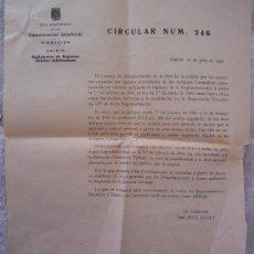 Documentos antiguos: RENFE: CIRCULAR Nº246, REGLAMENTO DE REGIMEN INTERIOR - JUBILACIONES, 1958. Lote 26463718