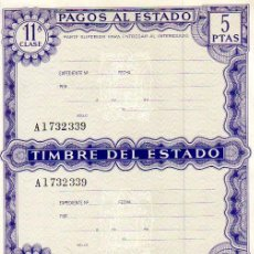 Documentos antiguos: PAGOS AL ESTADO 5 PESETAS . Lote 8840228
