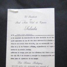 Documentos antiguos: SALUDA DEL REAL MOTO CLUB DE ESPAÑA. 1966. A ISAAC PERAL. INTERESANTE. ENVIO GRATIS¡¡¡. Lote 10748781