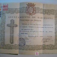 Documentos antiguos: CELULA PROPIEDAD CEMENTERIO SUDOESTE (BERCELONA). Lote 9181907