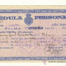 Documentos antiguos: CÉDULA PERSONAL AÑO 1929 AYUNTAMIENTO PALMA DE MALLORCA. Lote 26340435