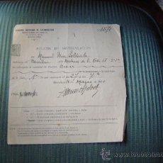 Documentos antiguos: ANTIGUA FACTURA RECIBO. Lote 9325336