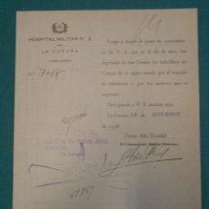 Documentos antiguos: DOCUMENTO TAMAÑO CUARTILLA HOSPITAL MILITAR CENTRAL DE A CORUÑA Nº2 ,1938. Lote 9366877