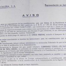 Documentos antiguos: CIRCULAR DE TABACALERA ANUNCIANDO LA CREACION DEL GIRO TRIBUTARIO. JAEN 1958.. Lote 26160396