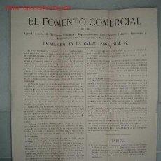 Documentos antiguos: CIRCULAR CON TARIFAS DE PRECIOS DE EL FOMENTO COMERCIAL-TOMAS ESTEBAS Y CIA, 1885. Lote 10292913