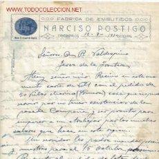 Documentos antiguos: CARTA COMERCIAL DE NARCISO POSTIGO. FABRICA DE EMBUTIDOS.CANTIMPALOS. Lote 1048877
