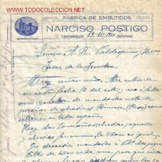 Documentos antiguos: CARTA COMERCIAL DE NARCISO POSTIGO. FABRICA DE EMBUTIDOS.CANTIMPALOS. Lote 1048884