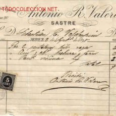 Documentos antiguos: RECIBI DE ANTONIO R. VALERO - MANUFACTURAS INGLESAS.JEREZ. Lote 1055236