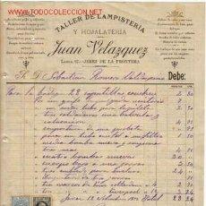 Documentos antiguos: SELLO TIMBRE MOVIL Y RECARGO - RECIBI DE JUAN VELAZQUEZ - TALLER DE LAMPISTERIA Y HOJALATERIA.JEREZ. Lote 1055337