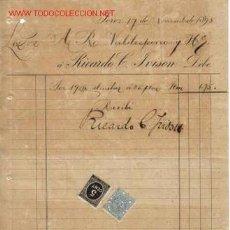Documentos antiguos: RECIBI DE RICARDO L. IVISON.JEREZ. Lote 1055340