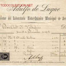 Documentos antiguos: SELLO TIMBRE MOVIL E IMPUESTO DE GUERRA - RECIBI DE ADULFO DE LUQUE - DIRECTOR DEL LABORATORIO.JEREZ. Lote 1055782