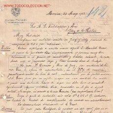 Documentos antiguos: CARTA COMERCIAL DE HOTEL PATRÓN.MURCIA. Lote 8948647