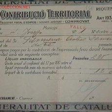 Documentos antiguos: CONTRIBUCIÓN TERRITORIAL GENERALITAT DE CATALUNYA, 1937. Lote 1120611