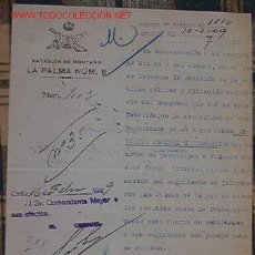 Documentos antiguos: DOCUMENTO DEL BATALLÓN DE MONTAÑA, LA PALMA Nº8. Lote 15671740