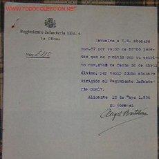 Documentos antiguos: DOCUMENTO REGIMIENTO DE INFANTERÍA Nº4. Lote 9975306
