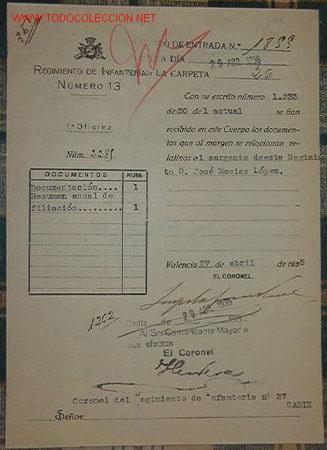 DOCUMENTO DEL REGIMIENTO DE INFANTERÍA Nº13 (Coleccionismo - Documentos - Otros documentos)