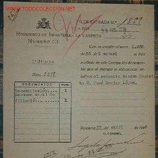Documentos antiguos: DOCUMENTO DEL REGIMIENTO DE INFANTERÍA Nº13. Lote 9492624