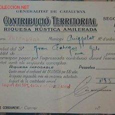 Documentos antiguos: REBUT CONTRIBUCIÓ TERRITORIAL 1937. Lote 1120705