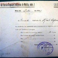 Documentos antiguos: DOCUMENTO DEL GRUPO DE FUERZAS REGULARES INDÍGENAS Nº2, 1937.. Lote 11036609