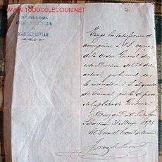 Documentos antiguos: CONCESIÓN DEL GRADO DE CORONEL POR LA DEFENSA DE GUETARIA.... Lote 13879683
