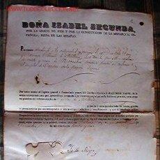 Documentos antiguos: CAPITÁN DE ARTILLERÍA, OTORGADO PRO LA REINA ISABEL II A DON FÉLIX LEÓN CAMARGO.... Lote 16973035