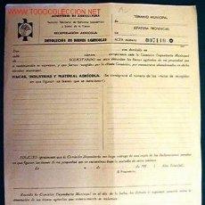 Documentos antiguos: DOCUMENTO TAMAÑO FOLIO SOBRE DEVOLUCIÓN DE BIENES AGRÍCOLAS.. Lote 20511559