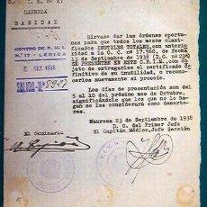 Documentos antiguos: DOCUMENTO TAMAÑO CUARTILLA C.R.I.M. Nº 17, LÉRIDA.. Lote 8931374