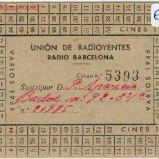 Documentos antiguos: UNION DE RADIOYENTES DE BARCELONA. Lote 1666707