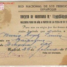 Documentos antiguos: CARNET RED NACIONAL DE FERROCARRILES ESPAÑOLES. Lote 1666971