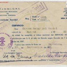 Documentos antiguos: CARNET DEL SERVICIO SOCIAL 1942. Lote 1673933