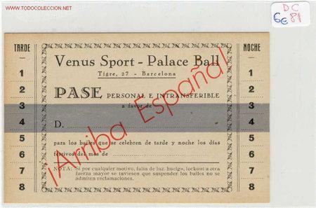 PASE VENUS SPORT (Coleccionismo - Documentos - Otros documentos)