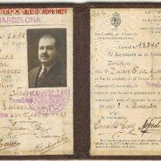 Documentos antiguos: CARNET COLEGIO OFICIAL DE AGENTES COMERCIALES DE BARCELONA 1928. Lote 1674662