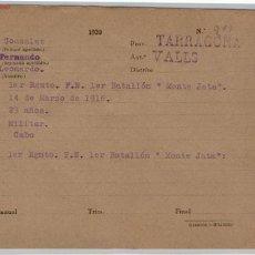 Documentos antiguos: TARJETA MILITAR. Lote 1685349