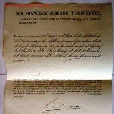 Documentos antiguos: COMANDANTE DEL EJÉRCITO, OTORGADO POR EL REGENTE D. FRANCISCO SERRANO, A DON FÉLIX LEÓN Y CAMARGO.... Lote 9682273