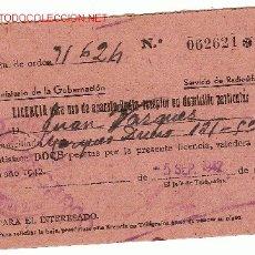 Documentos antiguos: LICENCIA PARA USO DE APARATO RADIO RECEPTOR EN DOMICILIO PARTICULAR. 5 SEP.1942.. Lote 3506218