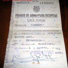Documentos antiguos: ANTIGUO CARNET DE PERMISO DE ARMAS PARA ESCOPETAS - CACERES - AÑO 1961 -. Lote 9119250