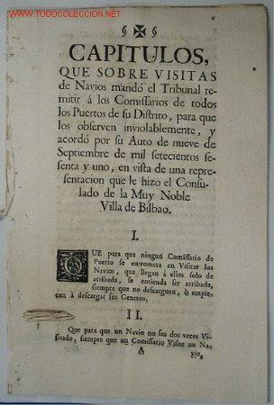 VISITAS NAVIOS. SIGLO XVIII (Coleccionismo - Documentos - Otros documentos)