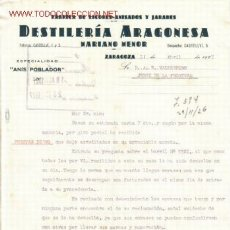 Documents Anciens: ZARAGOZA. DESTILERIA ARAGONESA MARIANO MENOR. FABRICA DE LICORES- ANISADOS Y JARBES. ESPECIALIDAD . Lote 7999762