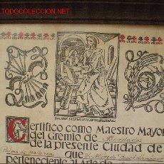Documentos antiguos: CERTIFICADO DE MAESTRO BORDADOR.. Lote 26455490