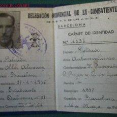 Documentos antiguos: CARNET DE EXCOMBATIENTE CONDECORADO. Lote 2880385