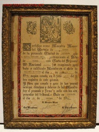 titulo maestro tallista de madera barcelona enmarcado documentos otros